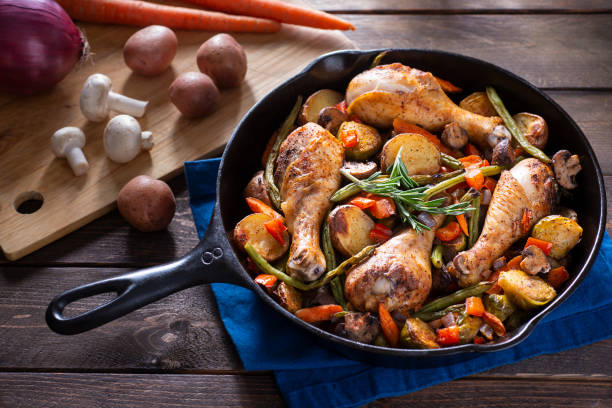 Skillet Chicken And Vegetables stock photo