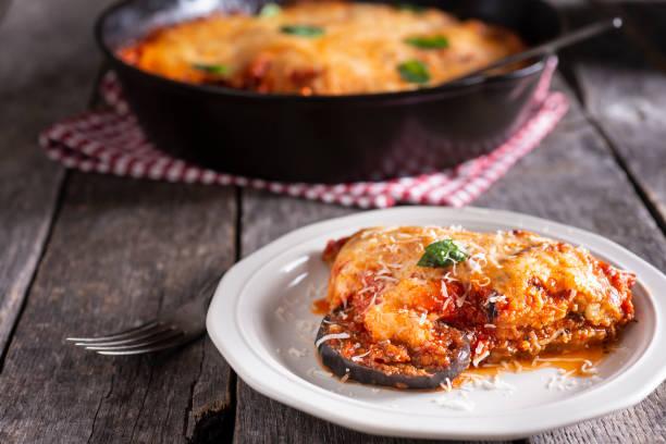 Skillet Eggplant Parmesan stock photo