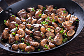 Mushrooms Sautéed In a Carbon Steel Skillet