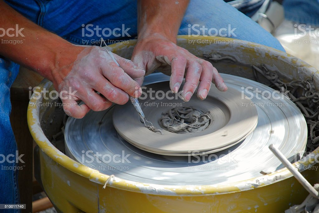 Skillful hands of master stock photo