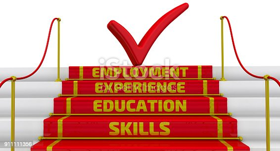 istock Skills, education, experience, employment. The inscription on the steps 911111356