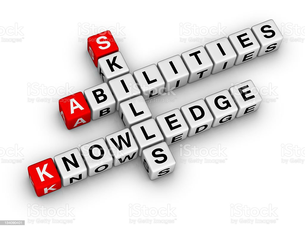 Skills, Knowledge, Abilities stock photo