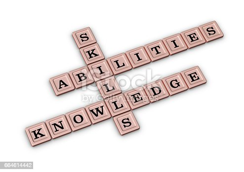 istock Skills, Knowledge and Abilities Crossword Puzzle. 664614442