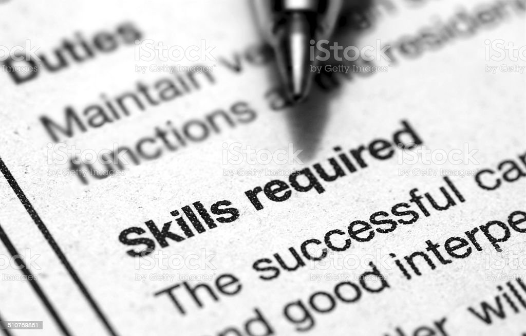 skills required stock photo