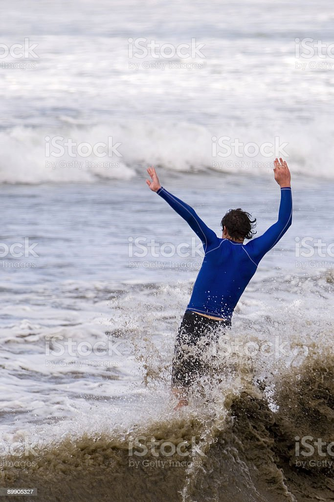 Skim Boarder Crashing royalty free stockfoto