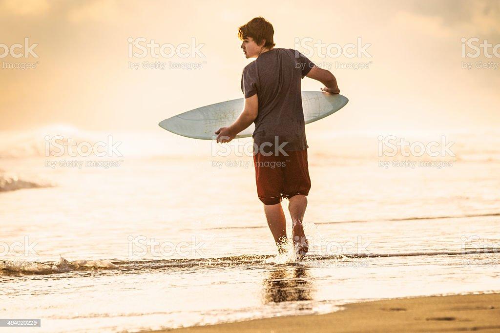 Skim boarder on a beach, OBX. stock photo