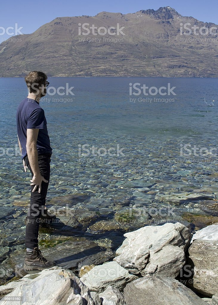 Skimming stone royalty-free stock photo