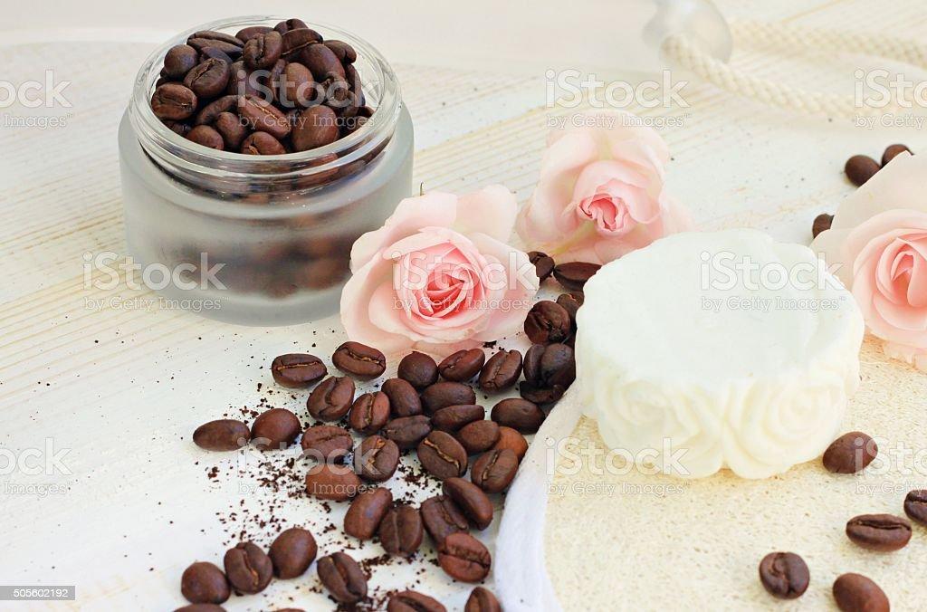 Skin beauty care coffee scrub aromatic roses stock photo