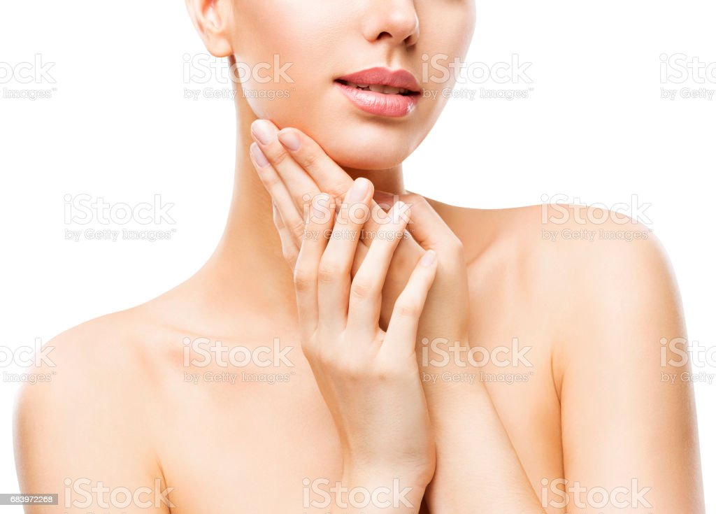 Skin Care Beauty, Attractive Woman Face and Hands Skincare, Healthy Clean Body Skin, White Background stock photo