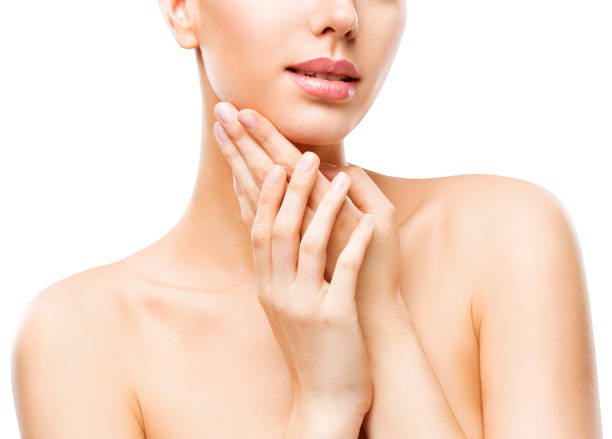 skin care beauty, attractive woman face and hands skincare, healthy clean body skin, white background - schmale schulter stock-fotos und bilder