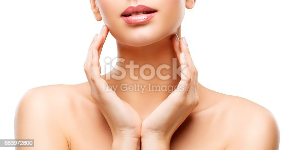 istock Skin Care Beauty, Woman Lips and Hands Skincare, Healthy Body, White Background 683972800