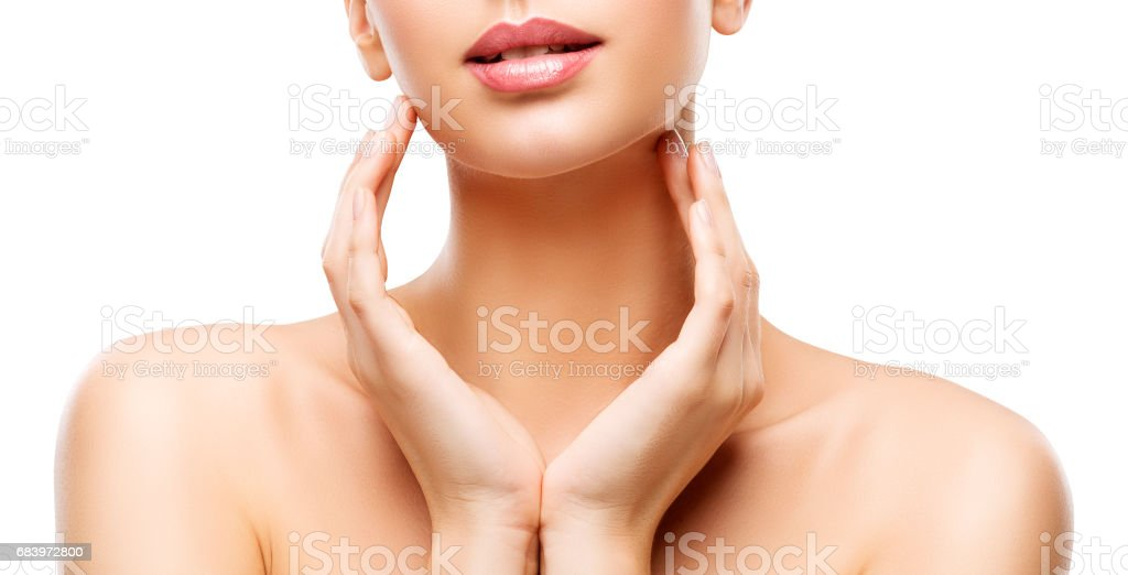Skin Care Beauty, Woman Lips and Hands Skincare, Healthy Body, White Background stock photo