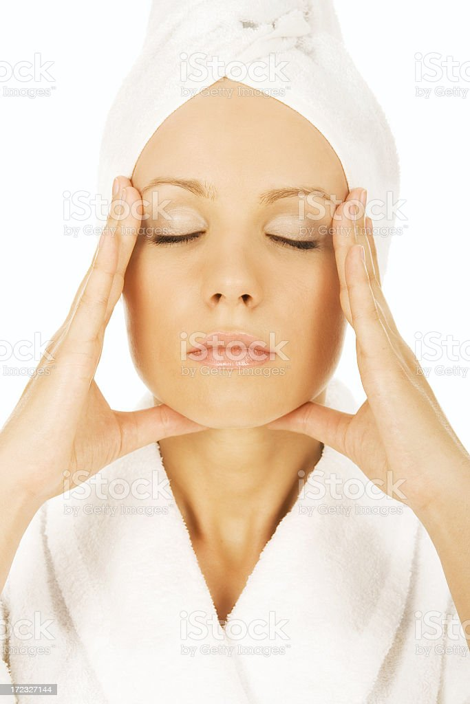 Skin care by beautiful woman royalty-free stock photo