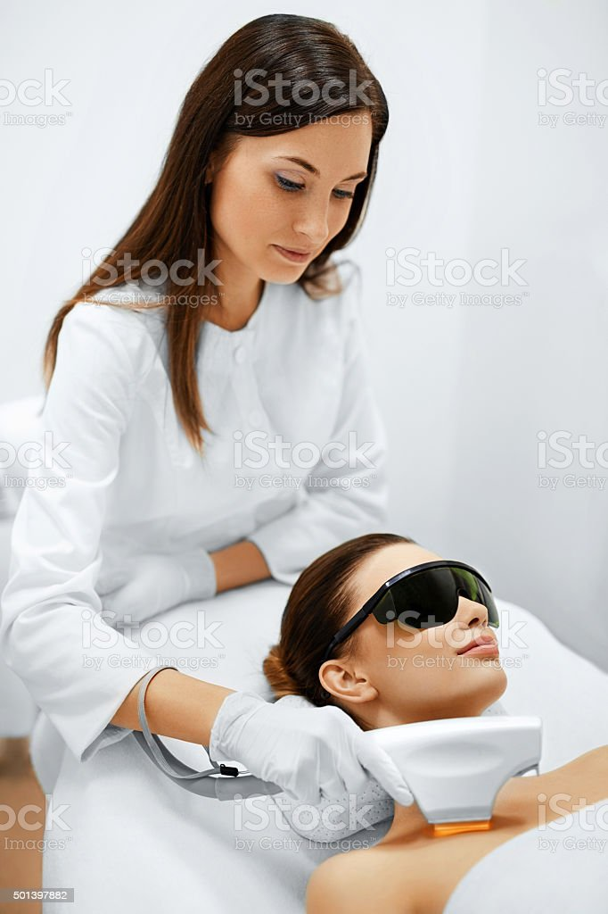 Skin Care. Face Beauty Treatment. IPL. Photo Facial Therapy. Anti-aging stock photo