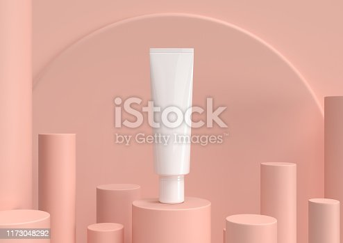 istock Skin care moisturizing cosmetic premium products with geometry background, 3d render. 1173048292