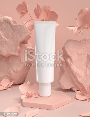 istock Skin care moisturizing cosmetic premium products with natural background, 3d render. 1173048269