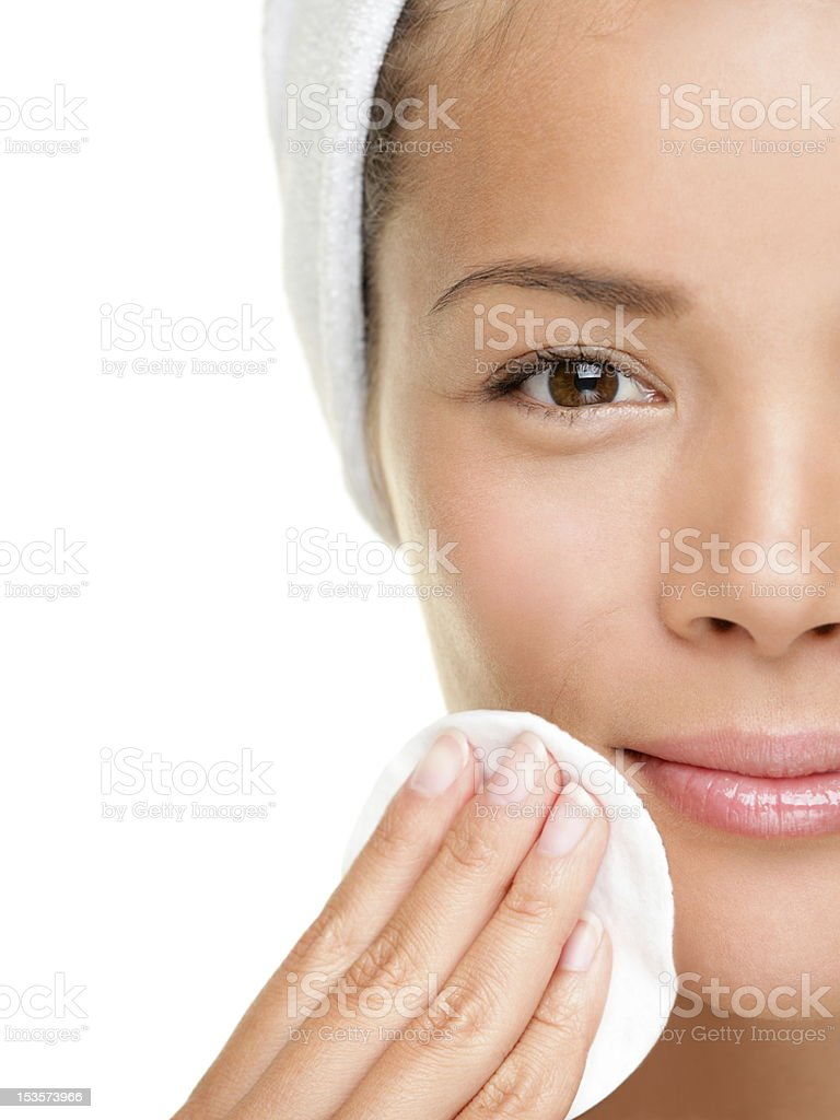 skin care woman removing makeup stock photo