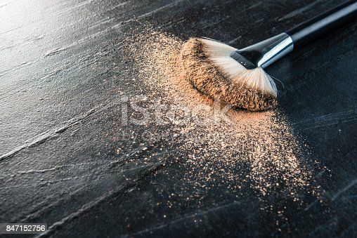 847152782 istock photo skin color makeup powder foundation and brush 847152756