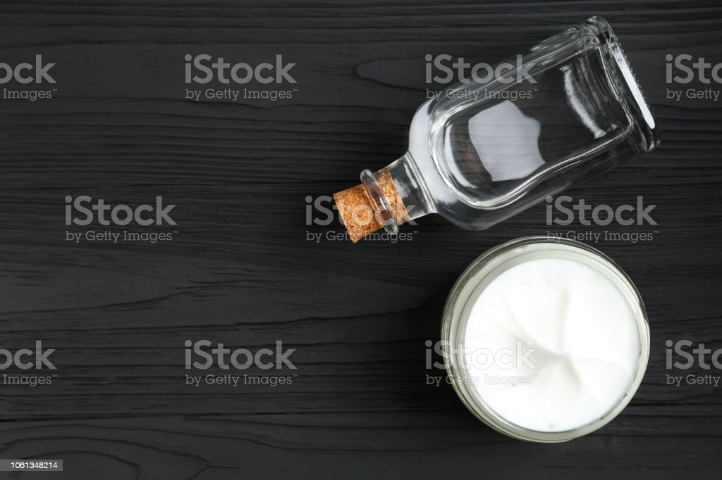 skin cream and glycerin skin cream and glycerin on a black table Beauty Stock Photo