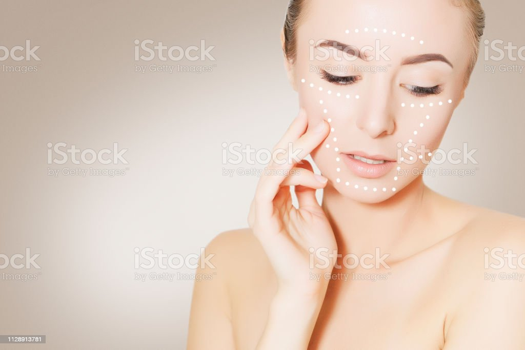 skin plastic surgery concept. Woman face with marks stock photo