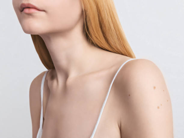 Skin protection Photo template Young blonde woman with pure smooth skin Cropped close-up image of the female neck and shoulders nude women pics stock pictures, royalty-free photos & images