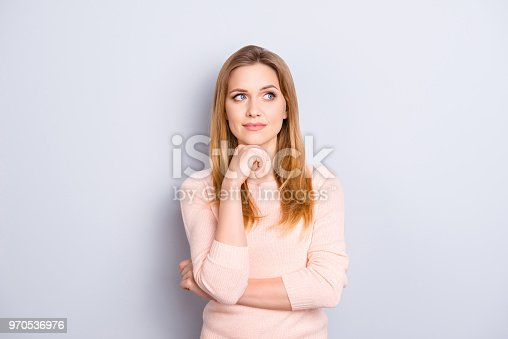 Skin skincare care pampering trend hairstyle people person want wish desire concept. Portrait of thoughtful concentrated focused interested woman making plans about future isolated on gray background