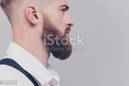 698023272 istock photo Skin skincare shave irritation concept. Cropped close up half-faced photo of heavy long red beard guy serious thinking pensive serious concentrated planning dreamy manager isolated on gray background 933032820