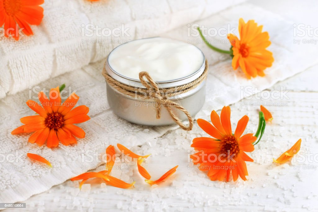 Skincare calendula extract cream in container stock photo