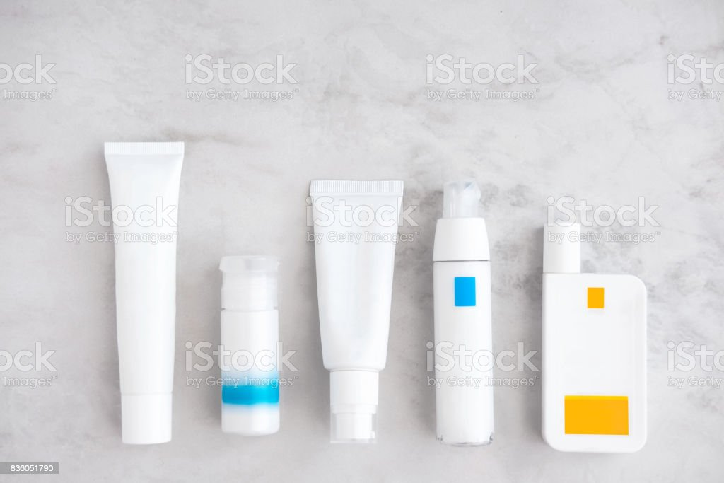Skincare cosmetic products from above