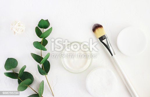 istock Skincare cosmetics with aroma eucalyptus plant extract. Home spa and body care. 938255234
