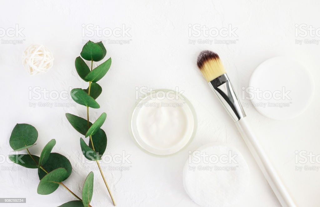 Skincare cosmetics with aroma eucalyptus plant extract. Home spa and body care. stock photo
