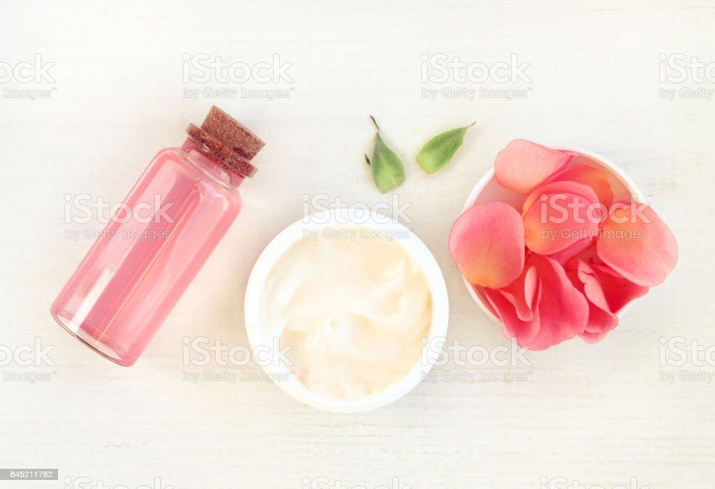 Skincare herbal rose cosmetic cream with fresh flower stock photo