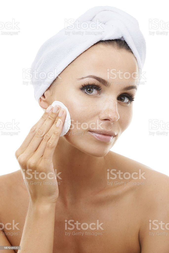Skincare is very important to her royalty-free stock photo
