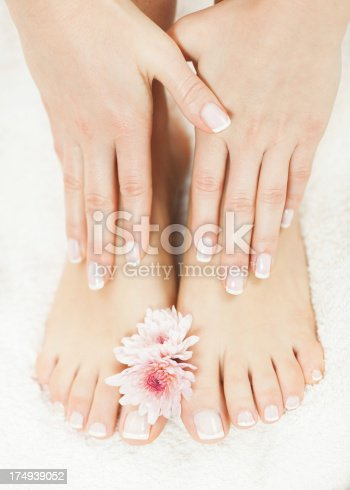 istock Skincare of a beauty female feet and hands 174939052
