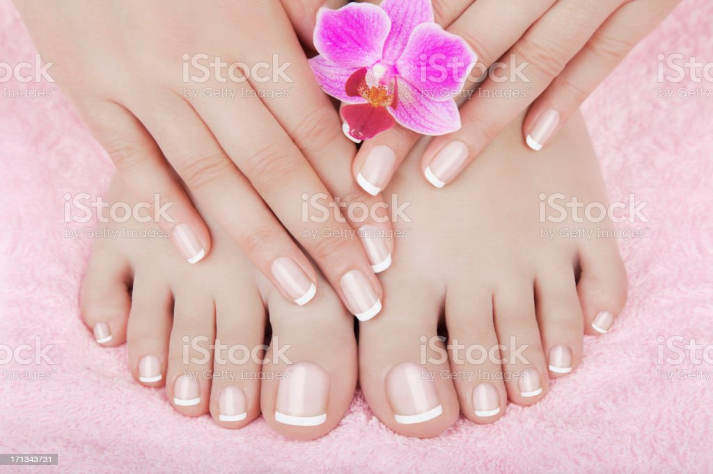 Skincare of a beauty female feet stock photo