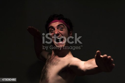 Very skinny headband wearing fighter shows skills