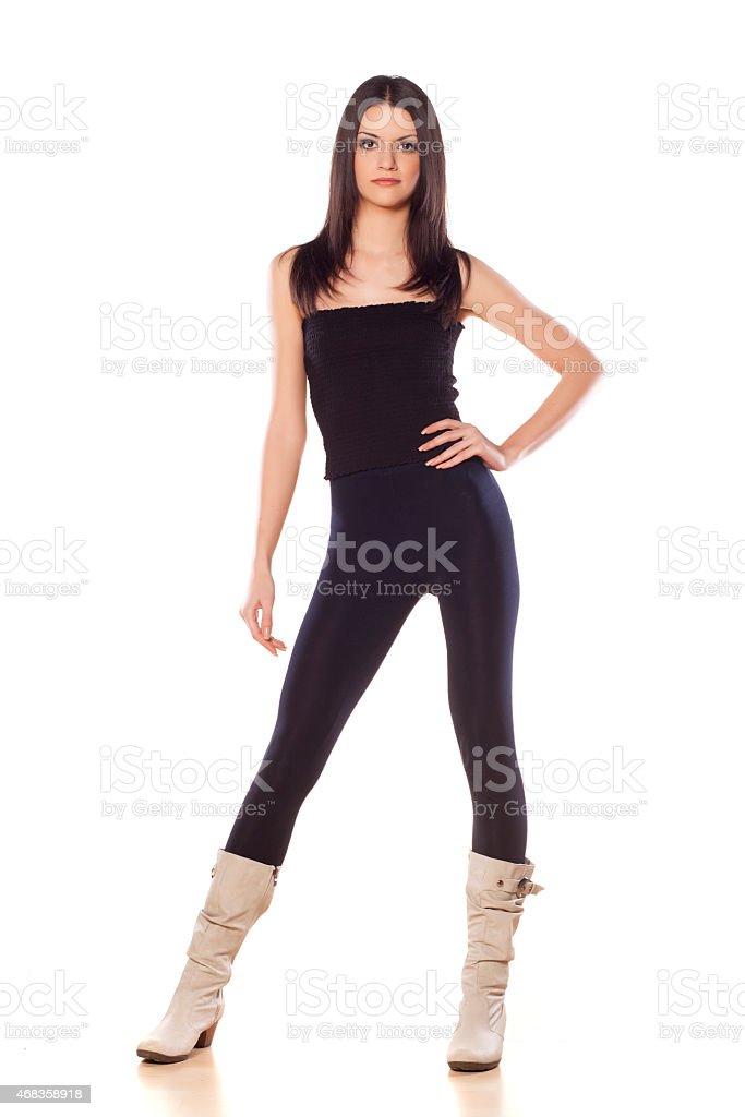 skinny girl in leggings royalty-free stock photo