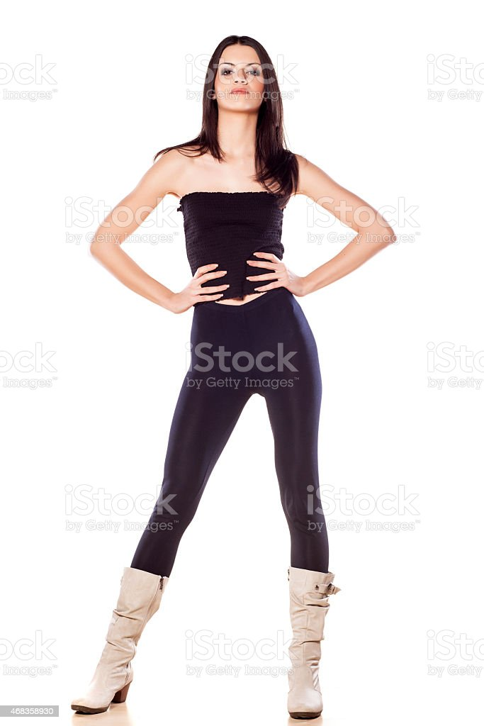 skinny girl in leggings royalty-free stock photo