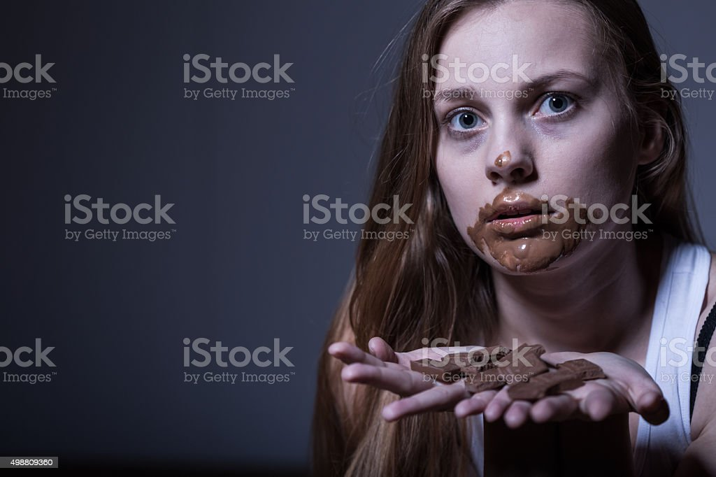 Skinny girl with dirty mouth stock photo