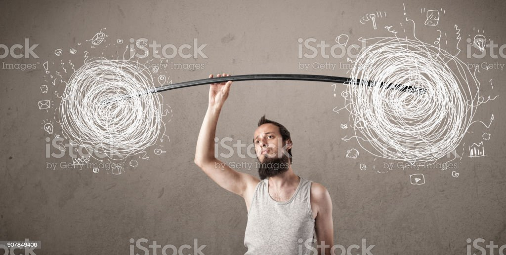 skinny guy defeating chaos situation stock photo