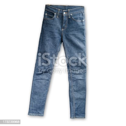 istock Skinny Tight  Blue Jeans  on white background 173239968