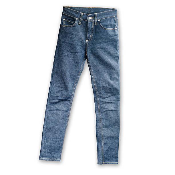 calça skinny jeans azul em fundo branco - calça comprida - fotografias e filmes do acervo