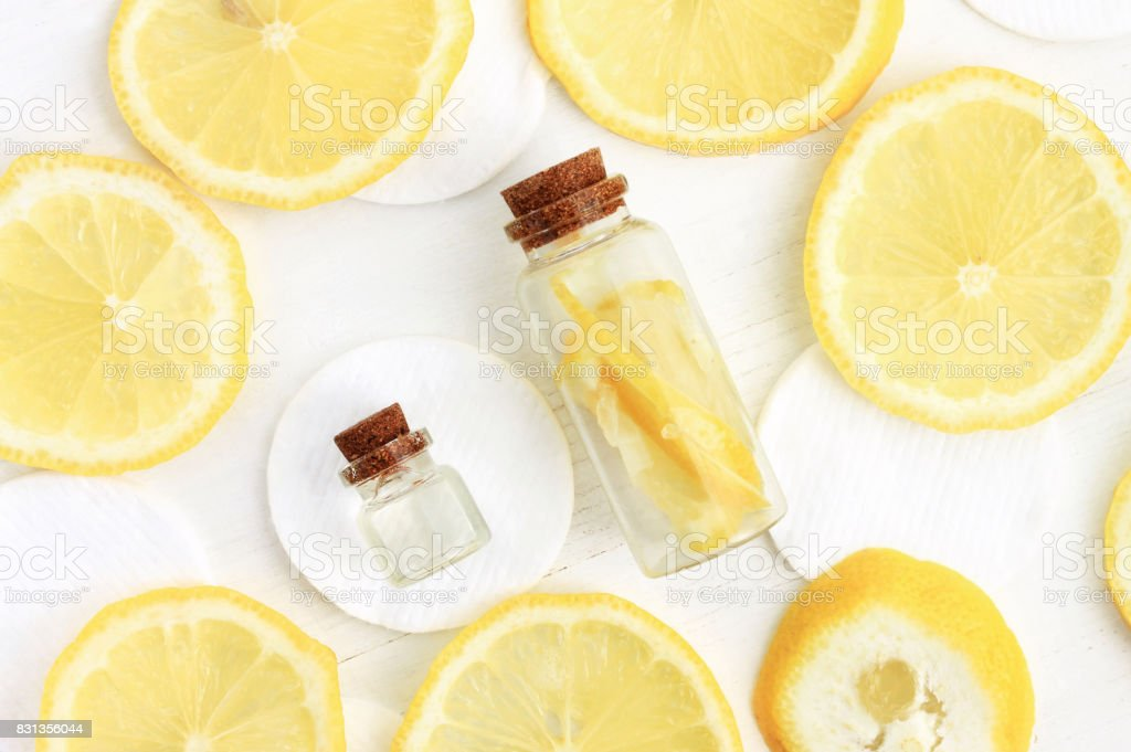 Skin-whitening homemade lemon facial care stock photo