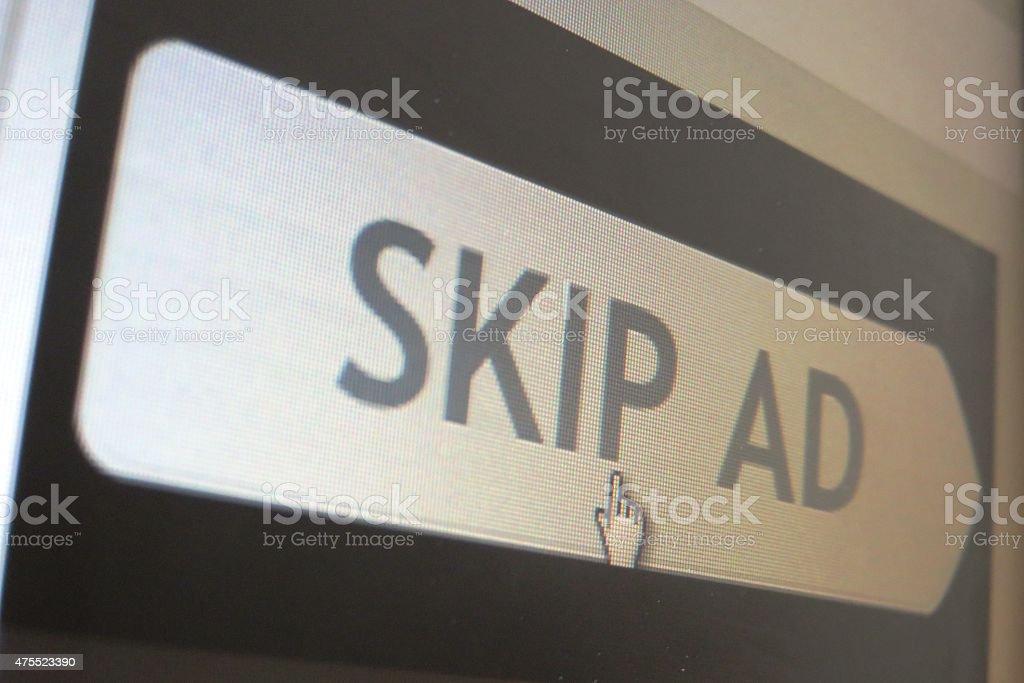 Skip ad sign stock photo