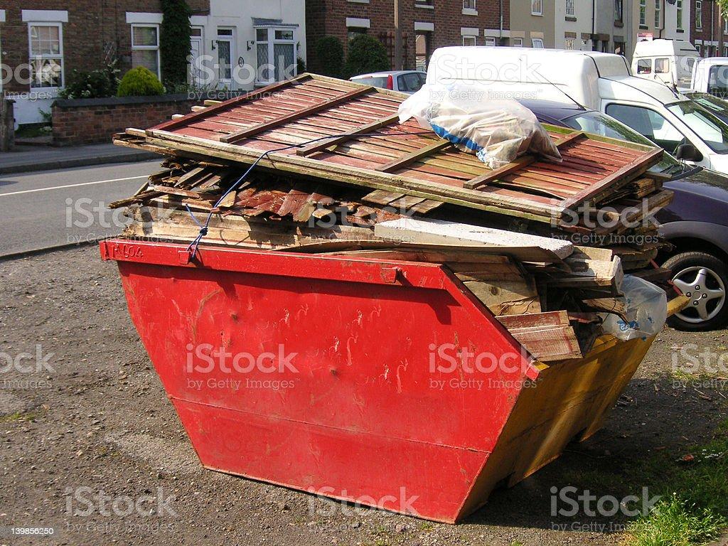 skip full of rubbish stock photo