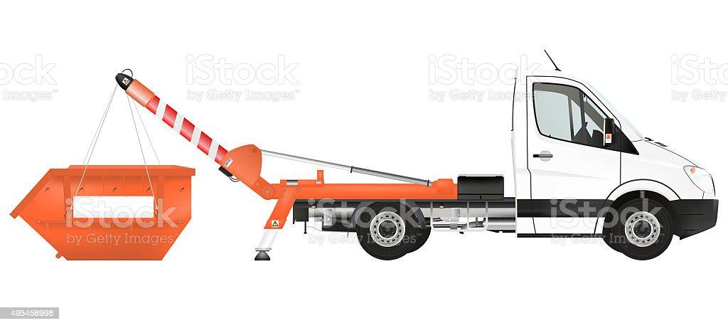 Skip loader truck stock photo