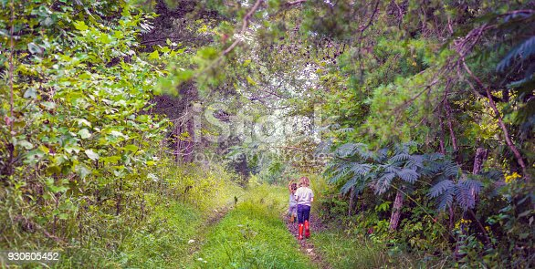 Two children, little girls in rain boots walking down a rural road in a nature area full of lush vegetation