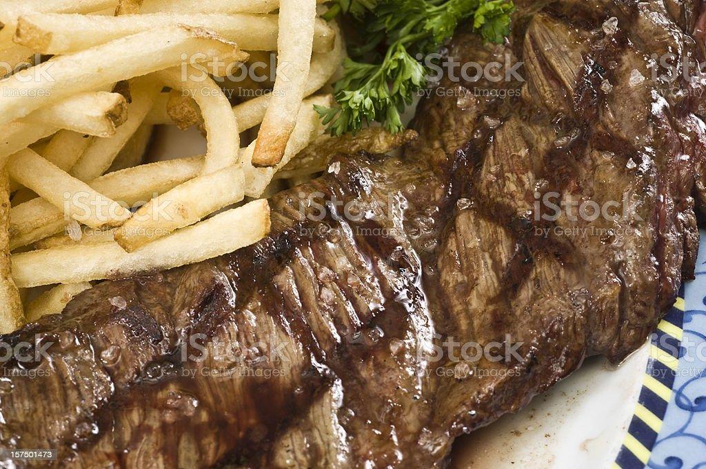 Skirt Steak and fries stock photo
