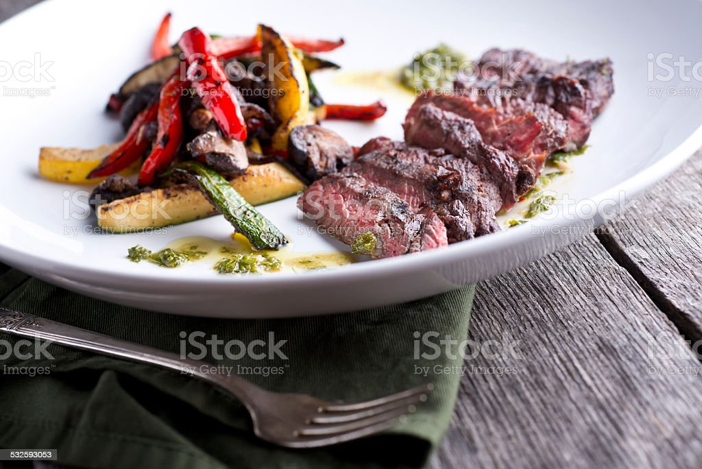Skirt Steak Grilled Vegetables stock photo