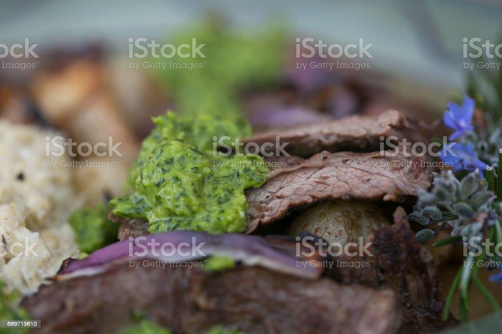 Skirt Steak with Chimichurri Sauce stock photo